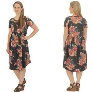 NEW Penelope Floral Peplum Dress - Charcoal